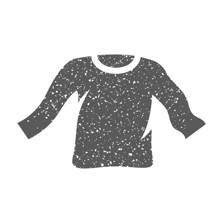 Long sleeve T-shirt icon in grunge texture. Vintage style vector illustration. Foto de archivo - 112377864