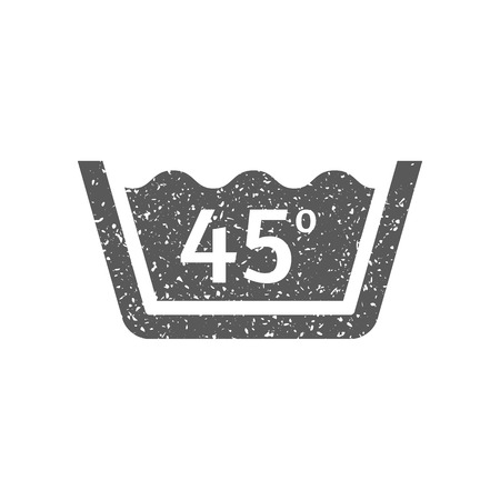 Washing temperature icon in grunge texture. Vintage style vector illustration. Иллюстрация