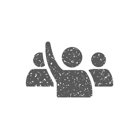People raise hand icon in grunge texture. Vintage style vector illustration.