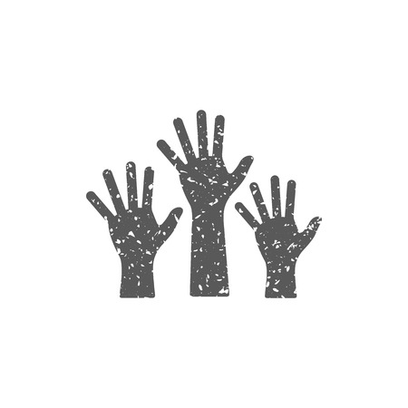 Hands icon in grunge texture. Vintage style vector illustration.