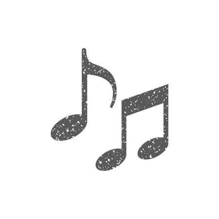 Music notes icon in grunge texture. Vintage style vector illustration.