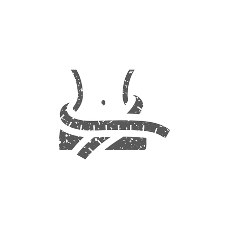 Measure tape icon in grunge texture. Vintage style vector illustration.