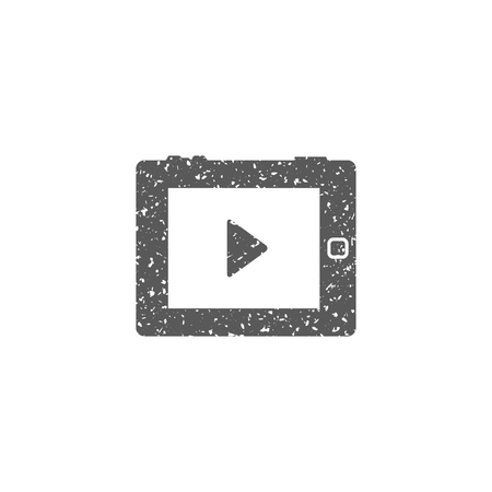 Portable media player icon in grunge texture. Vintage style vector illustration.