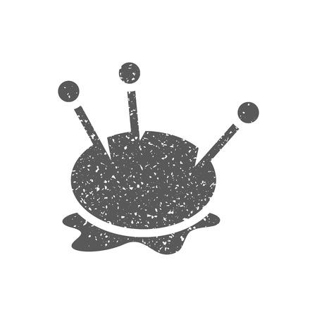 Pincushion icon in grunge texture. Vintage style vector illustration. Vektorové ilustrace