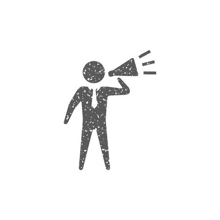 Businessman loudspeaker icon in grunge texture. Vintage style vector illustration.