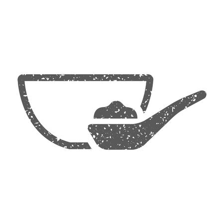 Porridge bowl icon in grunge texture. Vintage style vector illustration.