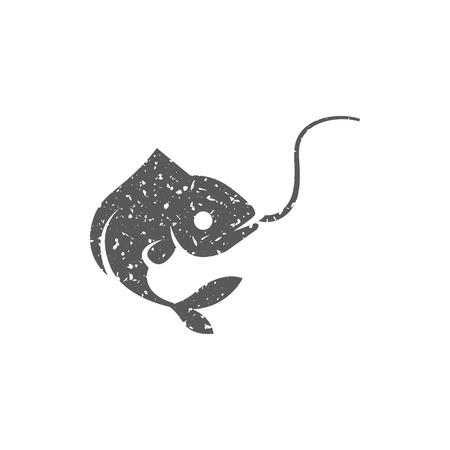 Hooked fish icon in grunge texture. Vintage style vector illustration.