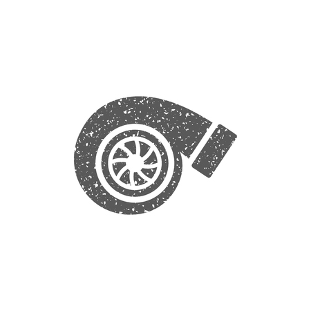 Turbo charger icon in grunge texture. Vintage style vector illustration.