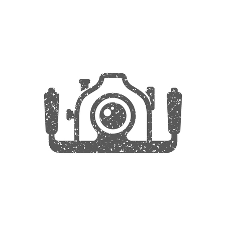 Underwater camera icon in grunge texture. Vintage style vector illustration.
