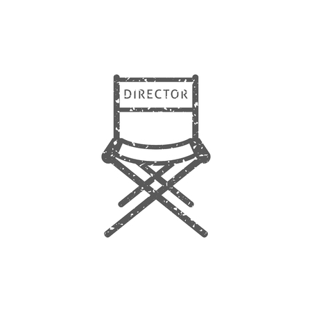 Movie director chair icon in grunge texture. Vintage style vector illustration.