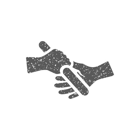 Icono de ejecución de relé en textura grunge. Ilustración de vector de estilo vintage.