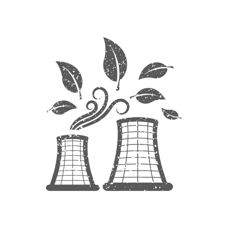 Nuclear plant with leaves icon in grunge texture. Vintage style vector illustration. Illustration
