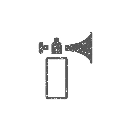 Gas horn in grunge texture. Vintage style vector illustration.