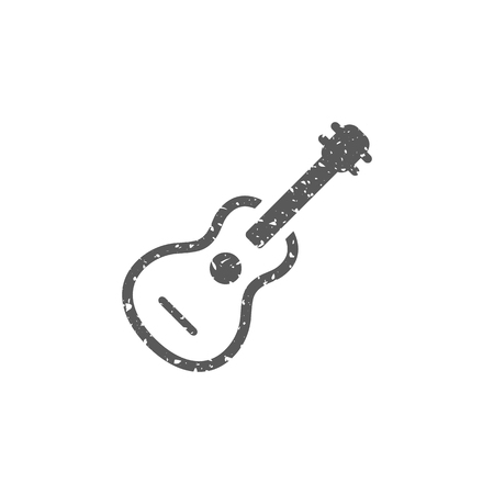 Guitar icon in grunge texture. Vintage style vector illustration.