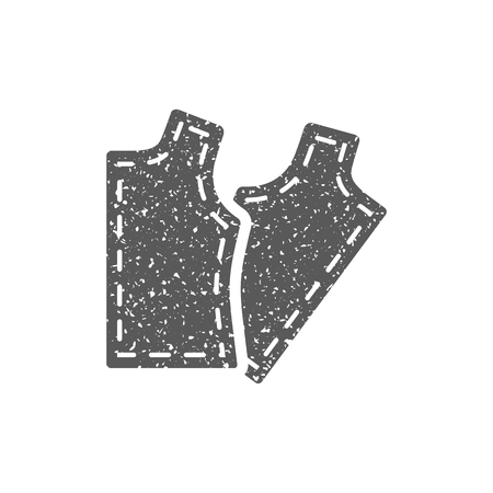 Sewing pattern icon in grunge texture. Vintage style vector illustration.