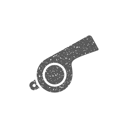 Whistle icon in grunge texture. Vintage style vector illustration.