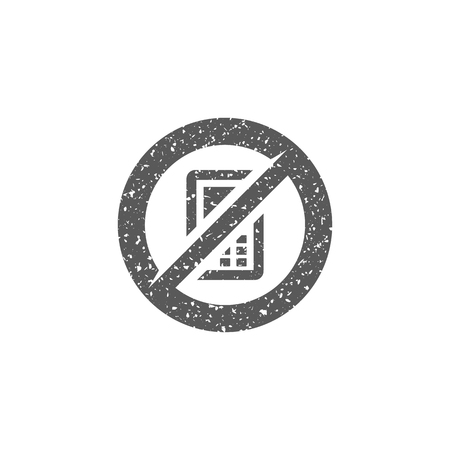 Phone restriction area icon in grunge texture. Vintage style vector illustration.  イラスト・ベクター素材