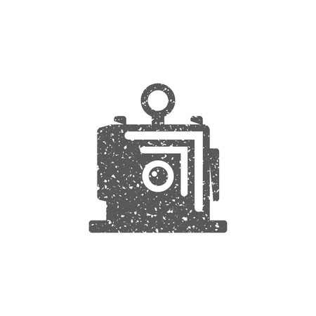 Large format camera icon in grunge texture. Vintage style vector illustration.