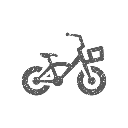Kids bicycle icon in grunge texture. Vintage style vector illustration.