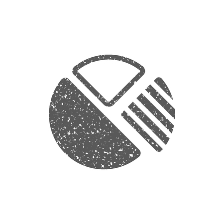 Pie chart icon in grunge texture. Vintage style vector illustration.