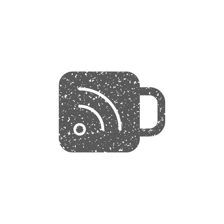 Cup icon with RSS symbol in grunge texture. Vintage style vector illustration.