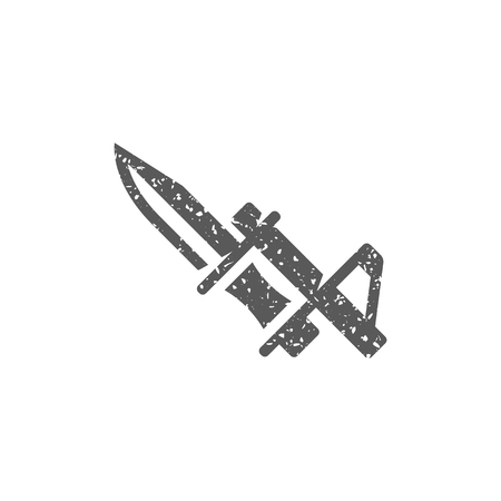 Bayonet knife icon in grunge texture. Vintage style vector illustration.