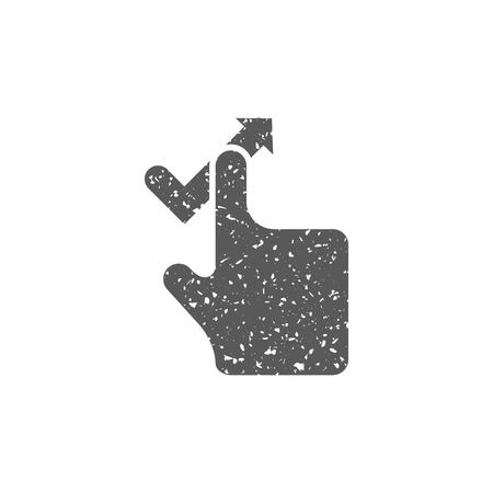 Finger gesture icon in grunge texture. Vintage style vector illustration.