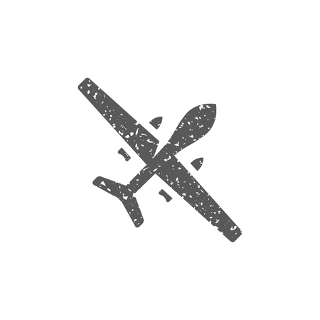 Unmanned aerial vehicle icon in grunge texture. Vintage style vector illustration.