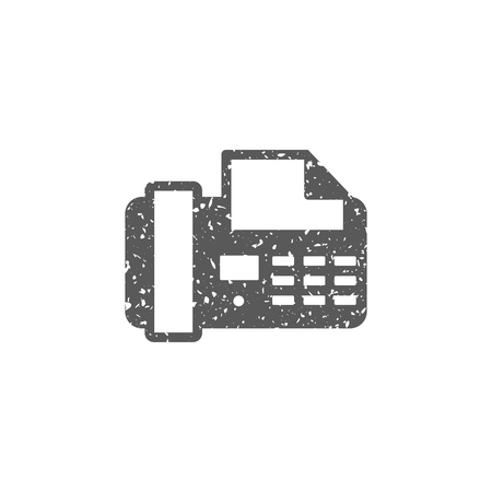 Facsimile icon in grunge texture. Vintage style vector illustration.