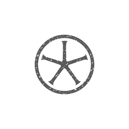 Bicycle wheel icon in grunge texture. Vintage style vector illustration. Stock Illustratie