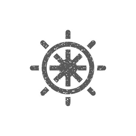 Ship steer wheel icon in grunge texture. Vintage style vector illustration. Ilustração