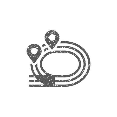 Sprinting field icon in grunge texture. Vintage style vector illustration.