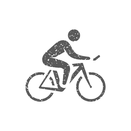 Cycling icon in grunge texture. Vintage style vector illustration. Stock Illustratie