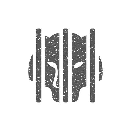 Caged animal icon in grunge texture. Vintage style vector illustration. Illustration