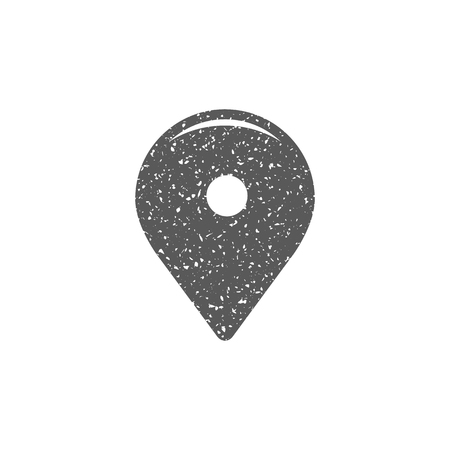 Pin icono de mapa de ubicación en textura grunge. Ilustración de vector de estilo vintage. Ilustración de vector