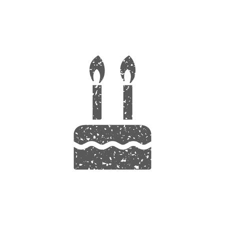 Birthday cake icon in grunge texture. Vintage style vector illustration.