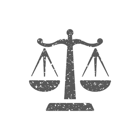 Justice scale icon in grunge texture. Vintage style vector illustration.