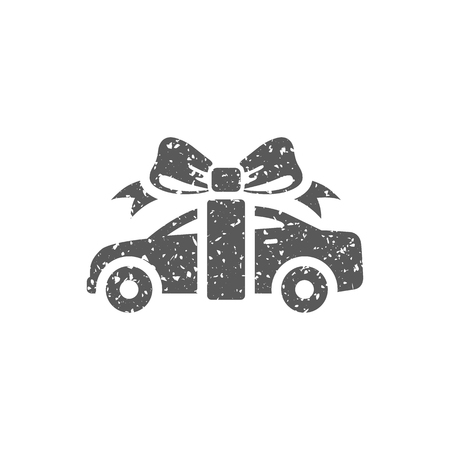 Car prize icon in grunge texture. Vintage style vector illustration.