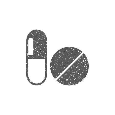Pills icon in grunge texture. Vintage style vector illustration. Illustration