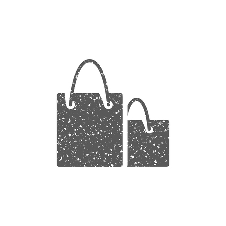 Shopping bags icon in grunge texture. Vintage style vector illustration.