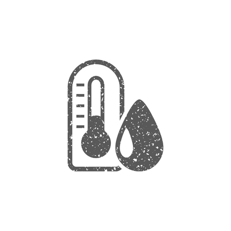 Thermometer icon in grunge texture. Vintage style vector illustration.  イラスト・ベクター素材