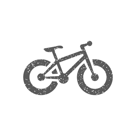 Fat tire bicycle icon in grunge texture. Vintage style vector illustration.  イラスト・ベクター素材