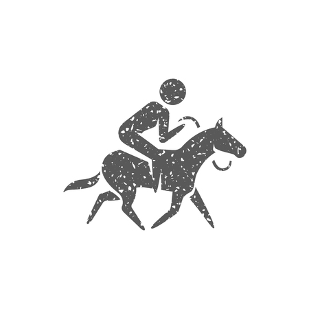 Horse riding icon in grunge texture. Vintage style vector illustration. Иллюстрация