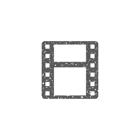 Cinema film icon in grunge texture. Vintage style vector illustration.