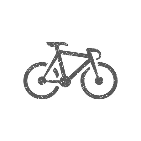 Track bike icon in grunge texture. Vintage style vector illustration. Stock Illustratie