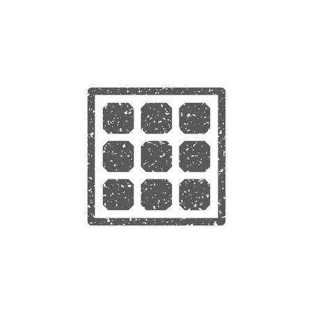 Solar cells panel icon in grunge texture. Vintage style vector illustration. Stock Illustratie