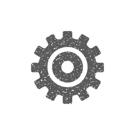 Einstellen des Zahnradsymbols in der Grunge-Textur. Vintage-Stil-Vektor-Illustration.
