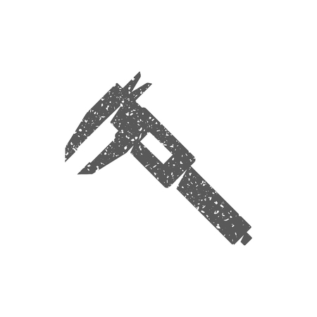 Dial caliper icon in grunge texture. Vintage style vector illustration.