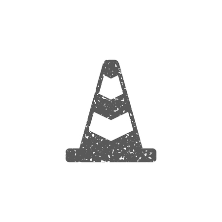 Traffic cone icon in grunge texture. Vintage style vector illustration.