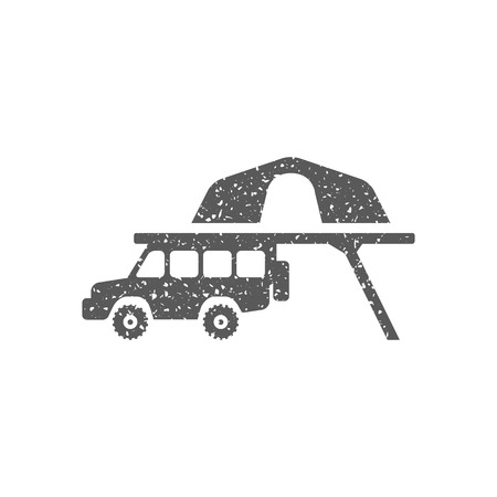 Portable camping tent icon in grunge texture. Vintage style vector illustration.